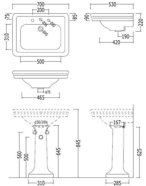 waschtisch etoile mit stands ule von replicata breite 700 mm replikate. Black Bedroom Furniture Sets. Home Design Ideas