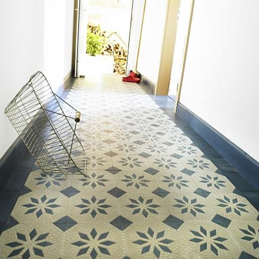 zementfliese riffelplatte mit stern blau grau von replicata replikate. Black Bedroom Furniture Sets. Home Design Ideas
