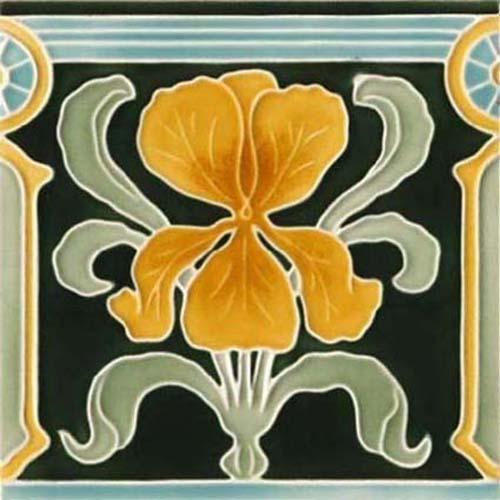 Wandfliese jugendstil bunte lilie von replicata replikate - Farben im jugendstil ...