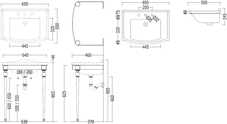 Waschtisch WESTMINSTER 3-Loch mit Konsole« von Replicata ...
