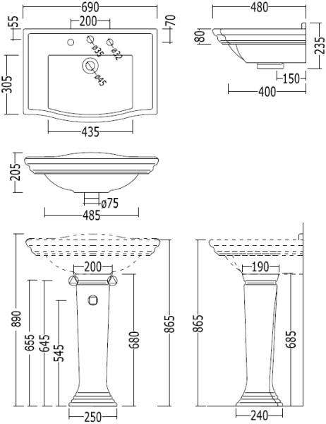 Höhe Von Waschbecken waschtisch westminster mit standsäule« von replicata - breite 695 mm