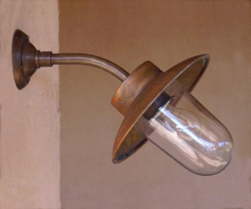 Außenle Kupfer außenleuchte syra klein mit gebogenem wandarm replicata