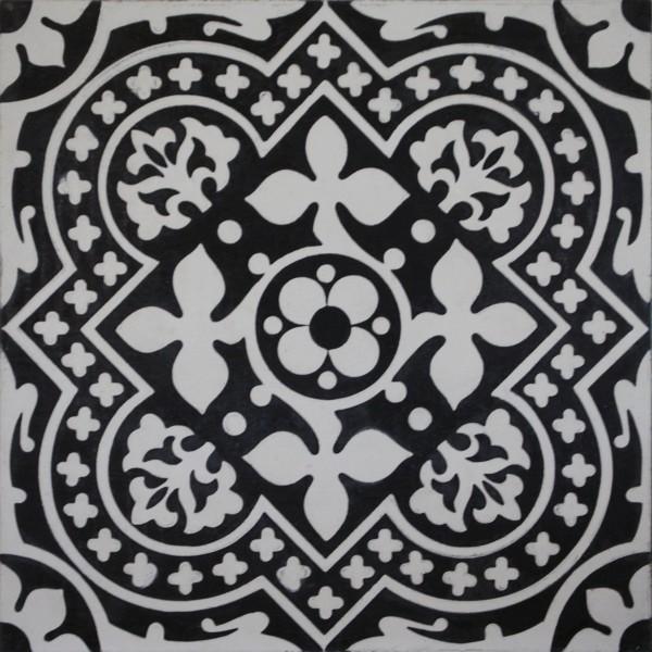 Schwarz Weiße Fliesen zementfliese serie arte blattornament schwarz weiß replicata